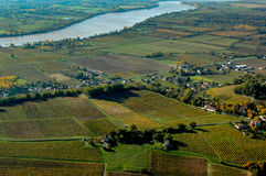 Paisagem aérea do vinhedo de Fronsac do wiev, vinhedo sul a oeste de França Foto de Stock