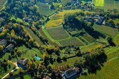 Paisagem aérea do vinhedo de Fronsac do wiev, vinhedo sul a oeste de França Fotos de Stock Royalty Free