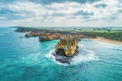 Paisagem aérea litoral em Victoria foto de stock