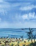 Paisagem abstrata Céu azul, mar dos azuis celestes com navios, palmas aglomeradas da praia, areia amarela imagem de stock royalty free