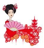 paisagem abstrata com menina asiática ilustração do vetor