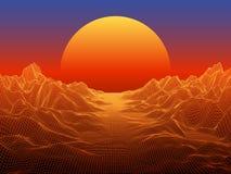 Paisagem abstrata com o sol da esfera no horizonte vec da tecnologia 3d ilustração stock