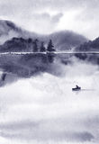 Paisagem abstrata da aquarela, lago no tempo calmo no por do sol imagens de stock