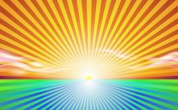 Paisagem abstrata do fundo Campo ensolarado do campo dos raios Bandeira e nascer do sol do céu com vetor bonito da vida suburbana ilustração royalty free