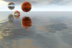 Paisagem abstrata fantástica - oceano e planeta Fotos de Stock Royalty Free