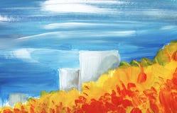 Paisagem abstrata Floresta do outono sob o céu azul ilustração royalty free