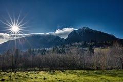 Paisagem alpina com um pomar no primeiro plano Fotos de Stock Royalty Free