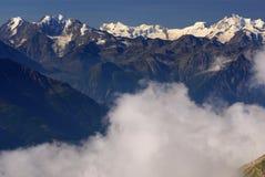 Paisagem alpina da montanha dos cumes em Jungfraujoch, parte superior do interruptor de Europa Foto de Stock