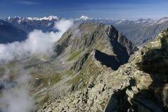 Paisagem alpina da montanha dos cumes em Jungfraujoch, parte superior do interruptor de Europa Fotos de Stock
