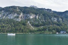 Paisagem alpina do outono de Mondsee do lago, Áustria Fotografia de Stock