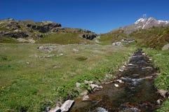 Paisagem alpina do rio da montanha Imagem de Stock