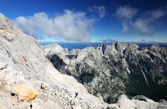 Paisagem alpina no parque nacional de Triglav Julian Alps visto do pico de Triglav Fotos de Stock