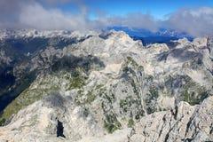 Paisagem alpina no parque nacional de Triglav Julian Alps visto do pico de Triglav Imagens de Stock