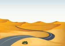 Paisagem amarela e uma estrada Imagens de Stock Royalty Free