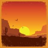 Paisagem americana ocidental selvagem do deserto na textura velha ilustração do vetor