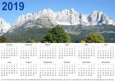 Paisagem anual da montanha dos EUA do calendário 2019 ilustração do vetor
