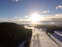 Paisagem aérea do inverno Fotos de Stock