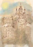 Paisagem arquitetónica urbana, Kiev, Ucrânia ilustração do vetor