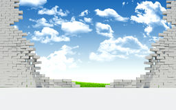 Paisagem arruinada da parede e da natureza de tijolo Imagem de Stock