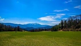 Paisagem austríaca - a neve tampou a parte superior da montanha de Schneeberg foto de stock