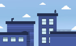 Paisagem azul da skyline das construções do vetor Fotografia de Stock