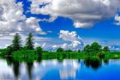 Paisagem azul e verde vívida Imagens de Stock Royalty Free