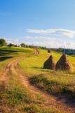 Paisagem bonita com caminho e monte de feno na Transilvânia Imagens de Stock