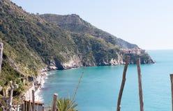 Paisagem bonita da costa de Corniglia em Cinque Terre Park Imagem de Stock