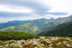 Paisagem bonita da montanha com grama verde no fundo do céu azul Imagens de Stock