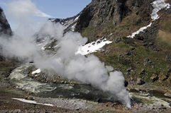 Paisagem bonita da montanha com um geyser Fotos de Stock