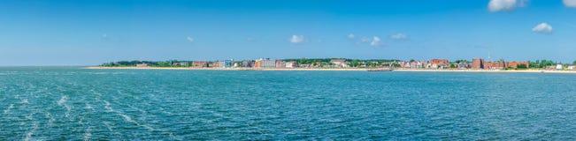 Paisagem bonita da praia na ilha de Foehr, o segundo-lar fotografia de stock