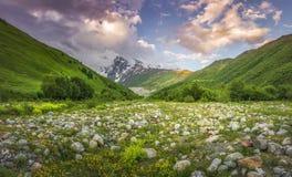 Paisagem bonita das montanhas no por do sol Nuvens cor-de-rosa no céu sobre o pico de montanha nevado fotos de stock royalty free