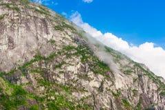 A paisagem bonita de Noruega dirige com telhados verdes e, terreno montanhoso e reservatórios fotos de stock