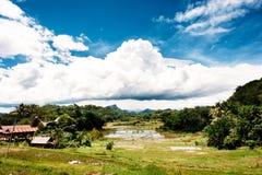Paisagem bonita de Tana Toraja, Sualwesi sul, Indonésia O arroz coloca com água, montanhas, céu azul com nuvens Imagens de Stock