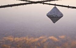 Paisagem bonita de um verão com uma exploração agrícola de sal Imagens de Stock