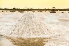 Paisagem bonita de um verão com uma exploração agrícola de sal em Tailândia foto de stock royalty free