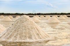 Paisagem bonita de um verão com uma exploração agrícola de sal em Tailândia fotografia de stock royalty free