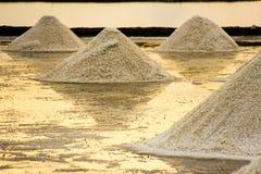 Paisagem bonita de um verão com uma exploração agrícola de sal em Tailândia imagens de stock