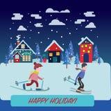 Paisagem bonita do inverno com concep dos feriados da paisagem do inverno Imagem de Stock