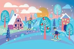 Paisagem bonita do inverno com concep dos feriados da paisagem do inverno ilustração stock