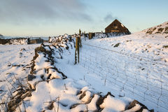 Paisagem bonita do inverno sobre o campo coberto de neve do inverno Imagem de Stock Royalty Free