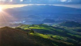 Paisagem bonita do por do sol da ilha de San Miguel em Açores Foto de Stock Royalty Free