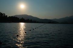 Paisagem bonita do por do sol do mar no tiro de Turquia Imagens de Stock