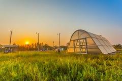 A paisagem bonita do secador e da turbina eólica solares Imagens de Stock
