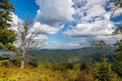 Paisagem bonita do verão com montanhas, o céu azul e as nuvens Imagens de Stock