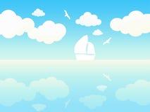Paisagem bonita do waterside do verão. ilustração do vetor