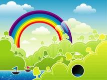 Paisagem bonita dos desenhos animados Imagens de Stock Royalty Free