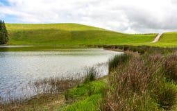 Paisagem bonita em um dia nebuloso ensolarado, com um lago, uma estrada, uns montes e umas plantas fotos de stock royalty free