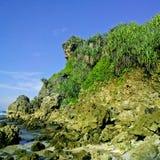 Paisagem bonita na praia de Ngobaran Fotografia de Stock