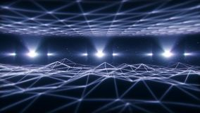 paisagem branca de 3D Wireframe no fundo do laço do Cyberspace VJ ilustração do vetor